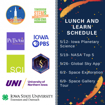 Astro Camp Lunch and Learn Schedule 5/12 – Iowa Planetary Science, University of Northern Iowa 5/19 – NASA Top 5, Iowa 4-H Youth Development 5/26 – Global Sky App, Science Center of Iowa 6/2 – Mars Landing, Iowa PBS 6/9 – Space Gallery Tour, Putnam Museum and Science Center