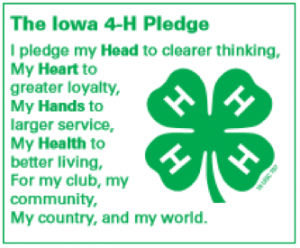 The Iowa 4-H Pledge