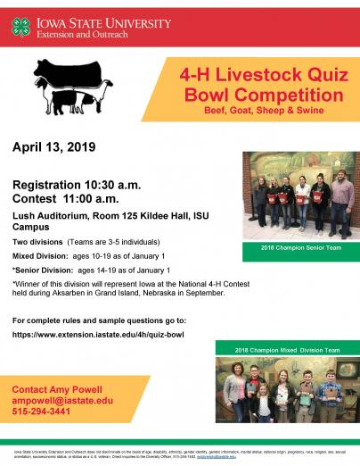 Livestock Quiz Bowl | 4-H Youth Development