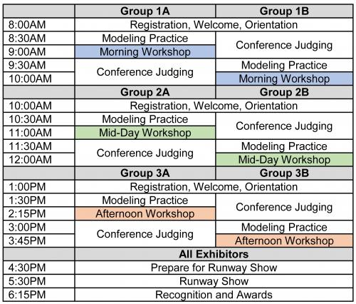 Image of Schedule Groups 1, 2, 3 for Awardrobe Event