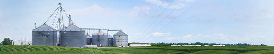 image of grain bins in distance