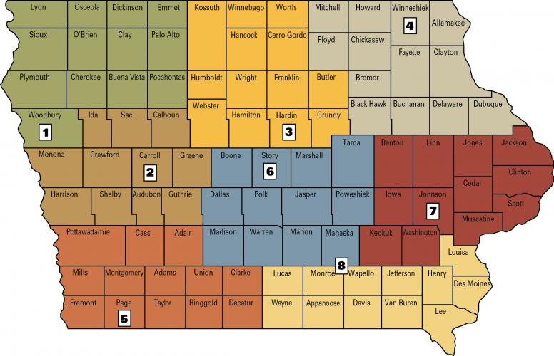 farm management specialist map of iowa