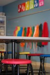Classroom with table and chairs