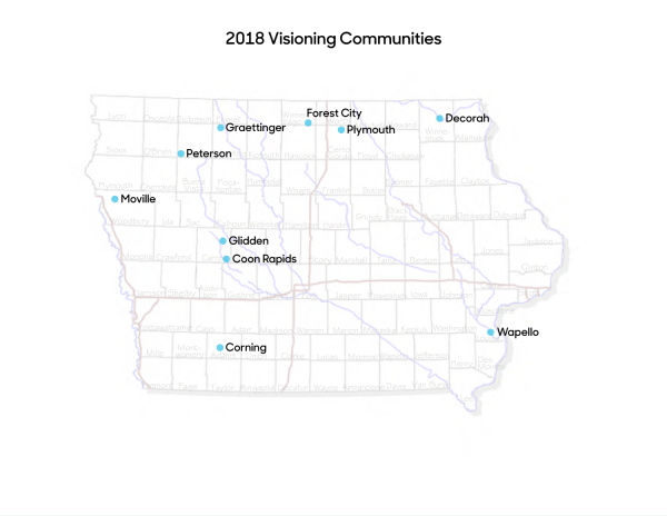 Map of 2018 visioning communities
