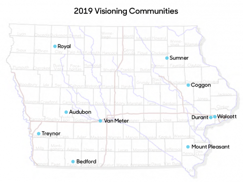 Iowa map showing the 2019 visioning communities