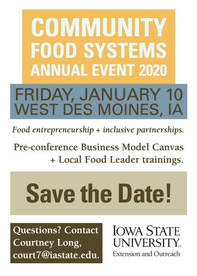 Save the Date Notice for Community Food Systems Annual Event