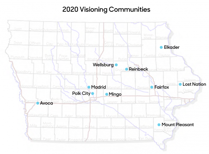 Iowa map showing the 2020 visioning communities