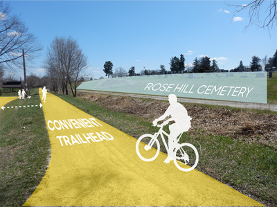 Image edit of the Wabash Trace Nature Trail in Shenandoah illustrating the convenience of the trailhead.