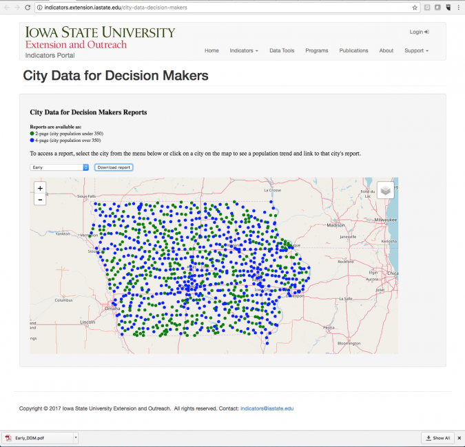 City Data for Decision Makers web page