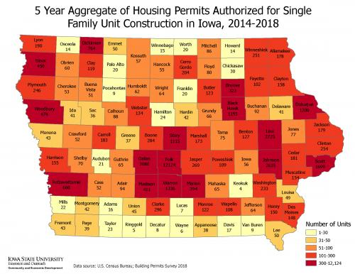 Map of Iowa showing the five-year aggregate of housing permits authorized for single-family unit construction in Iowa, 2014-18.