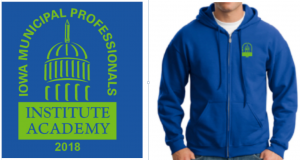 Royal blue zip-up hooded sweatshirt