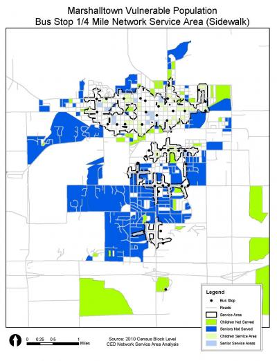 Map showing the network of bus stops in Marshalltown relevant to where children and older adults reside in town.