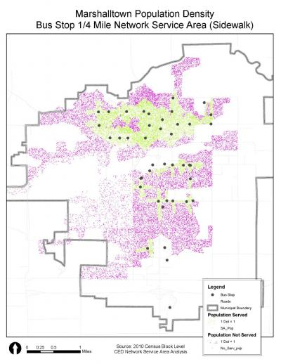 Map showing the network of bus stops in Marshalltown relevant to population density.