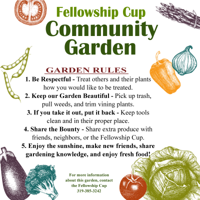 garden sign with rules and veggies