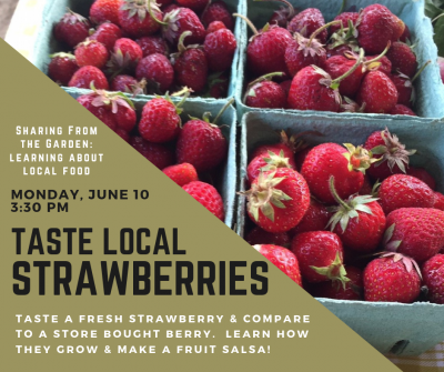 local strawberries in a box with event details
