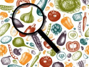 magnifying glass on veggies, search tool image