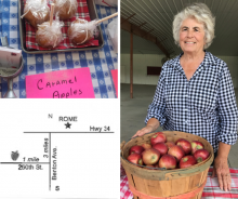 Apple Tree Orchard caramel apples, map to farm & owner Marcia Rich