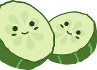 Smiling cucumber slices.
