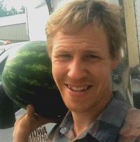 Man with watermelon.