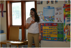 Carissa presenting to the youth about healthy eating. Picture by Kiley.