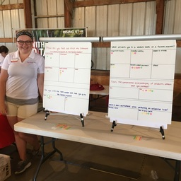 Emily next to survey boards to get opinions of consumers