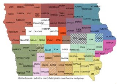 Map of Iowa's regional food system working groups