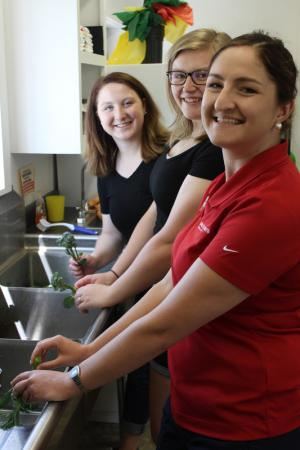 Christel, Emily, and Mackenzie cleaning broccoli in ice cold water at C. Brown Gardens
