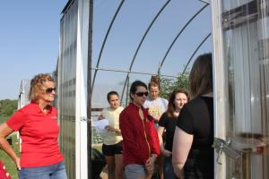 Touring the high tunnels and learning about C. Brown Gardens