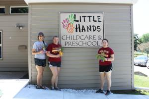 Carissa, Emily, and Christel at Little Hands Childcare and Preschool.