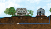 Illustration of houses built on fill in the special flood hazard area