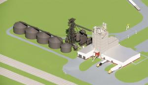 Rendering of northwest view of the ISU Feed mill and grain science complex