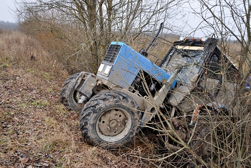 tractor in ditch.