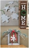 pressed clay ornaments, wooden home sign, holiday greenery frame