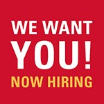 We Want You! Now Hiring Red Logo