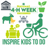 Inspire Kids to Do- National 4-H Week Green and White Logo