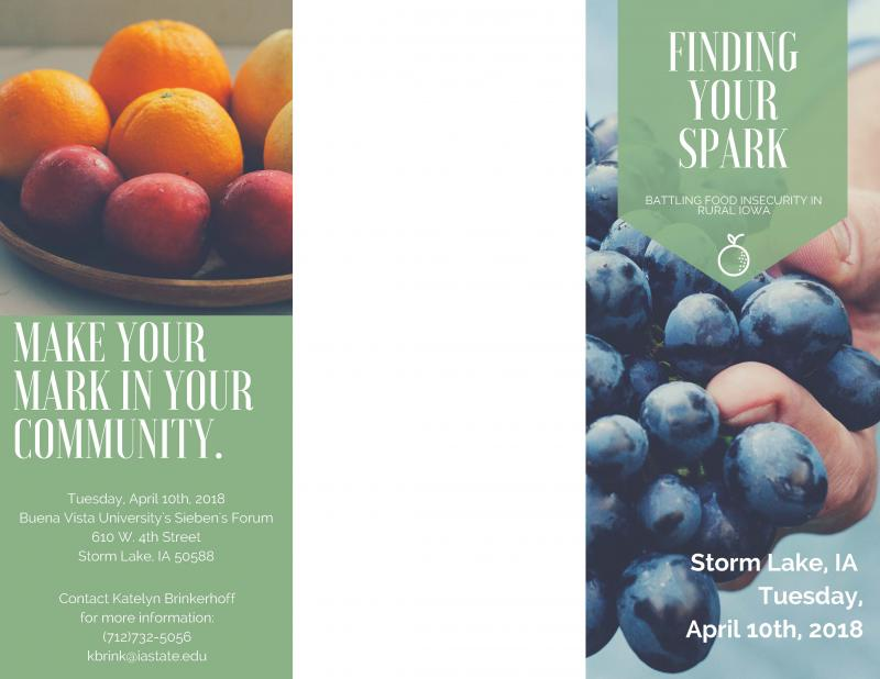 Brochure for Finding Your Spark event in Storm Lake on April 10th