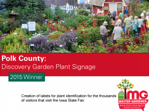 Polk County Master Gardeners won the SFE award in 2015