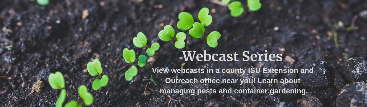 Webcast Series - View webcasts in a county ISU Extension and Outreach office near you! Learn about managing pests and container gardening.