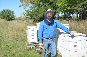 Randcall Cass with bees.