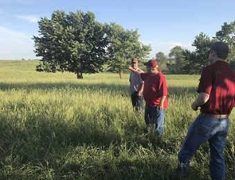 Sellers in pasture with Greenhorn Grazing attendees.