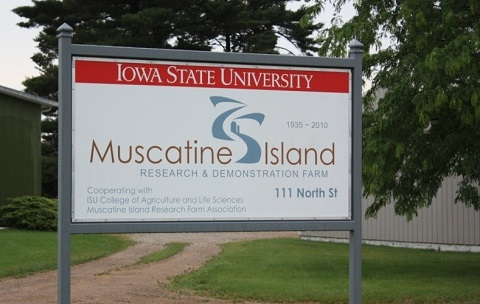 Muscatine Island research farm sign.