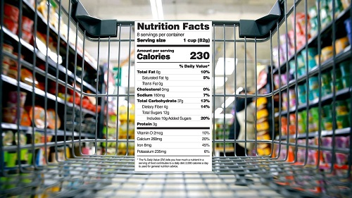 Nutrition Facts label shown in grocery store aisle.
