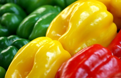green, red, yellow sweet peppers.