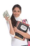 Female student with handful of money by mocker_bat/stock.adobe.com.