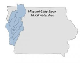 map of Iowa showing the Missouri-Little Sioux watershed.