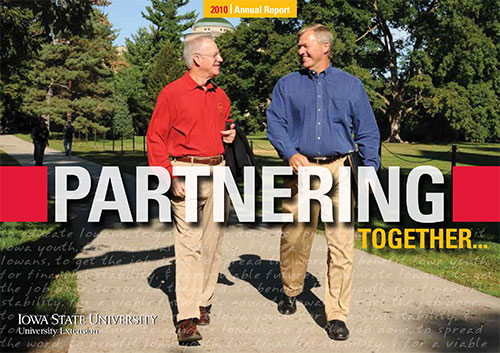 Interim Vice President Jerry Miller and IACEC President Terry Maloy walk on central campus Iowa State