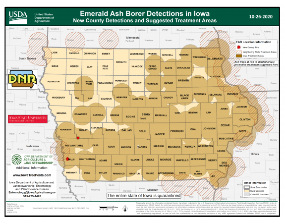 New County EAB Detections in Iowa and Suggested Treatment Areas
