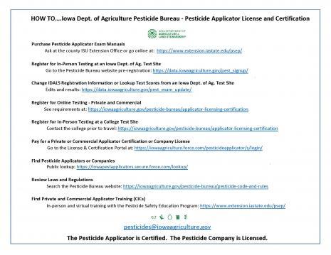 How To...Iowa Dept. of Agriculture Pesticide Bureau-Pesticide Applicator License and Certification