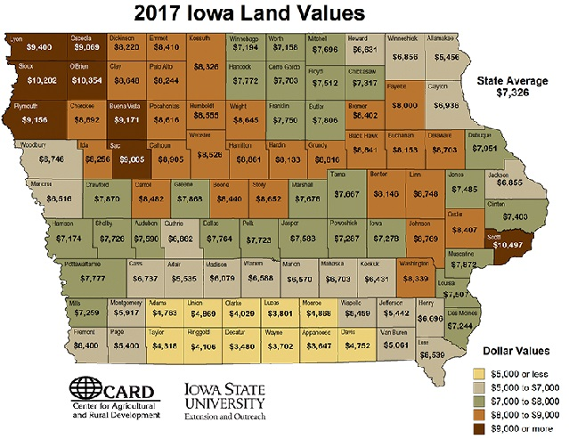 map of Iowa 2017 land values