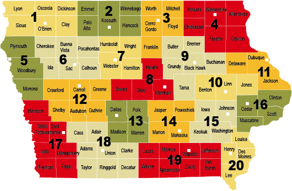 State Of Iowa Map With Counties.Regions Iowa State University Extension And Outreach